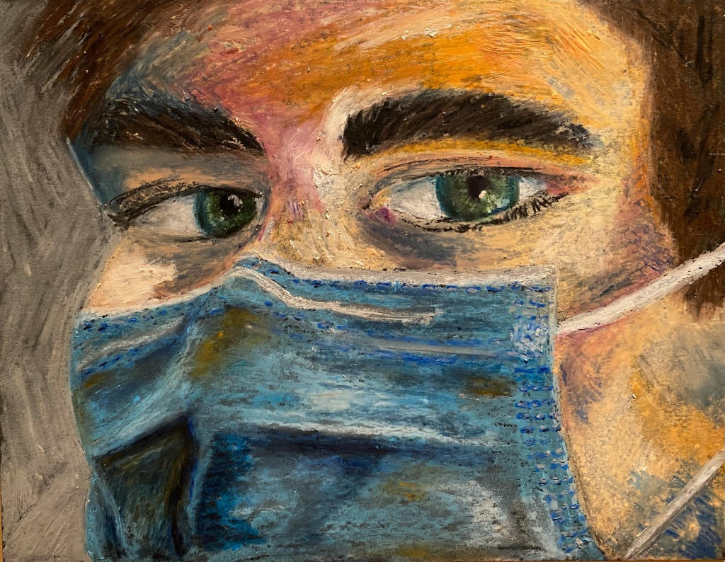 Close up rendering of a person with brown hair and blue-green eyes wearing a blue surgical mask.