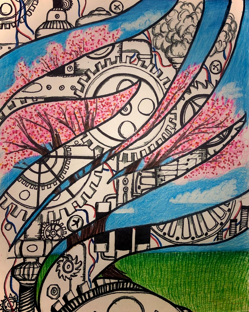 Mixed-media with colorful rendering of a tree juxtaposed with the black and white of cogs and machinery